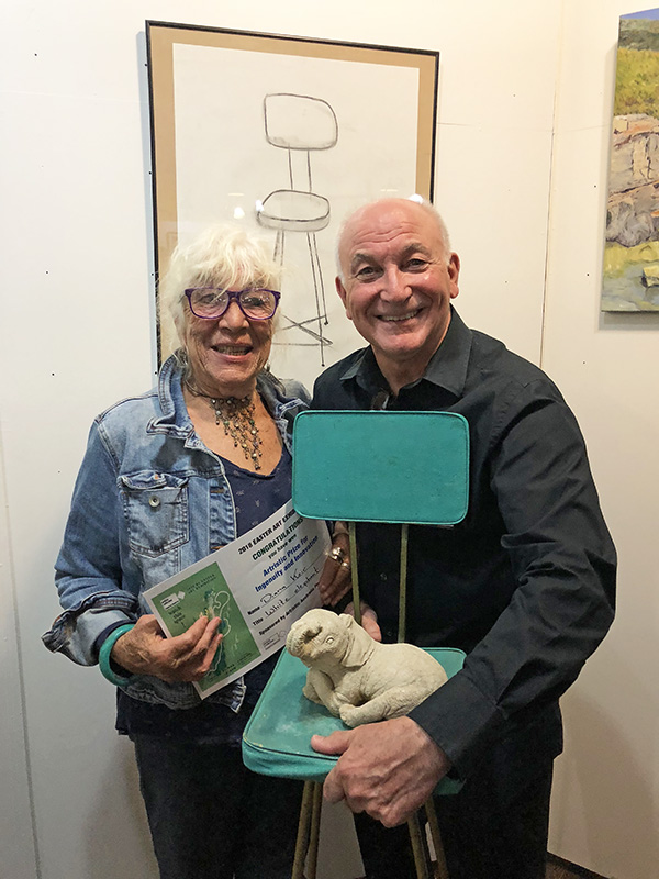 Diana Keir winner of inaugural Artristic Award for Ingenuity and Innovation, pictured with her winning entry alongside Artristic founder Tony Barber