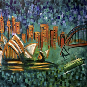 Sydney Harbour - painting by Australian speed painter Sarah Rowan (a.k.a. Sarah Rowan Dahl)