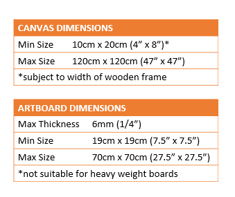 Minimum and maximum canvas dimensions and artboard dimensions for fully adjustable Artristic Studio easel