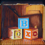 B is for Box oil painting by Karen Budan