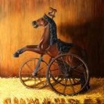 Horsey Ride nostalgic painting in oils by award winning artist Karen Budan